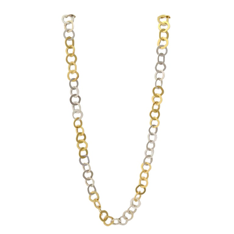 Bulgari Yellow and White Gold Long Chain Necklace