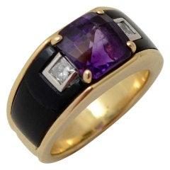 Michael Bondanza Gold Ring with Onyx; Amethyst and Diamonds