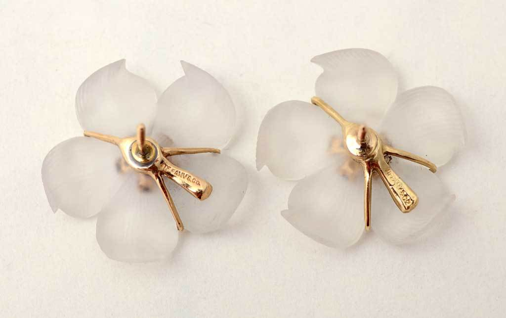 TIFFANY Rock Crystal Flower Earrings 2