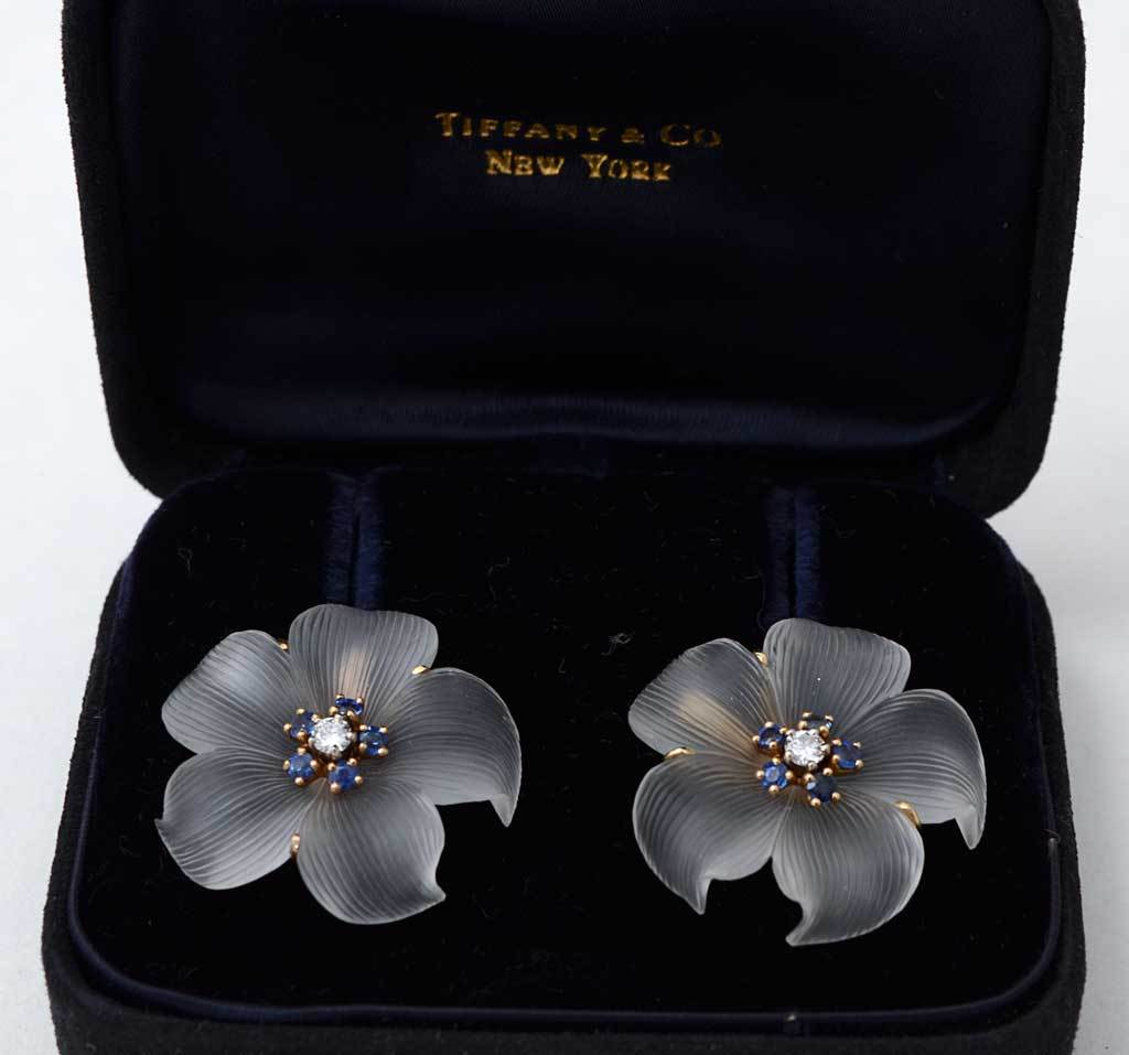 TIFFANY Rock Crystal Flower Earrings 3