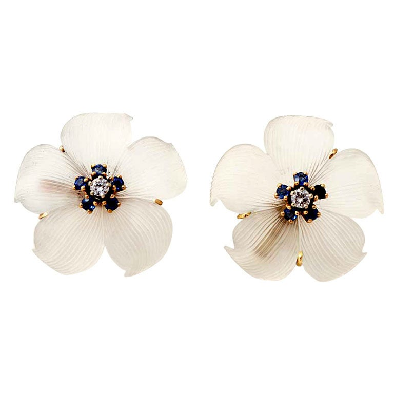 TIFFANY Rock Crystal Flower Earrings 1