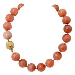 NICHOLAS VARNEY Carnelian Beads with Gold and Diamond Ball Clasp