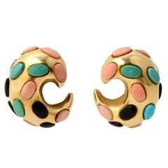 Gold Crescent Earrings with Coral, Turquoise and Onyx