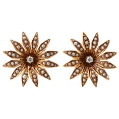 Gold Flower Petal Earrings with Seed Pearls and Diamonds