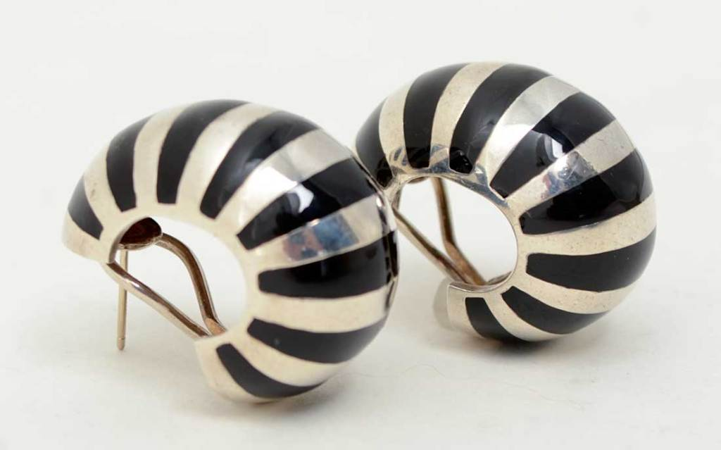 Tiffany Silver and Enamel Hoop Earrings image 2