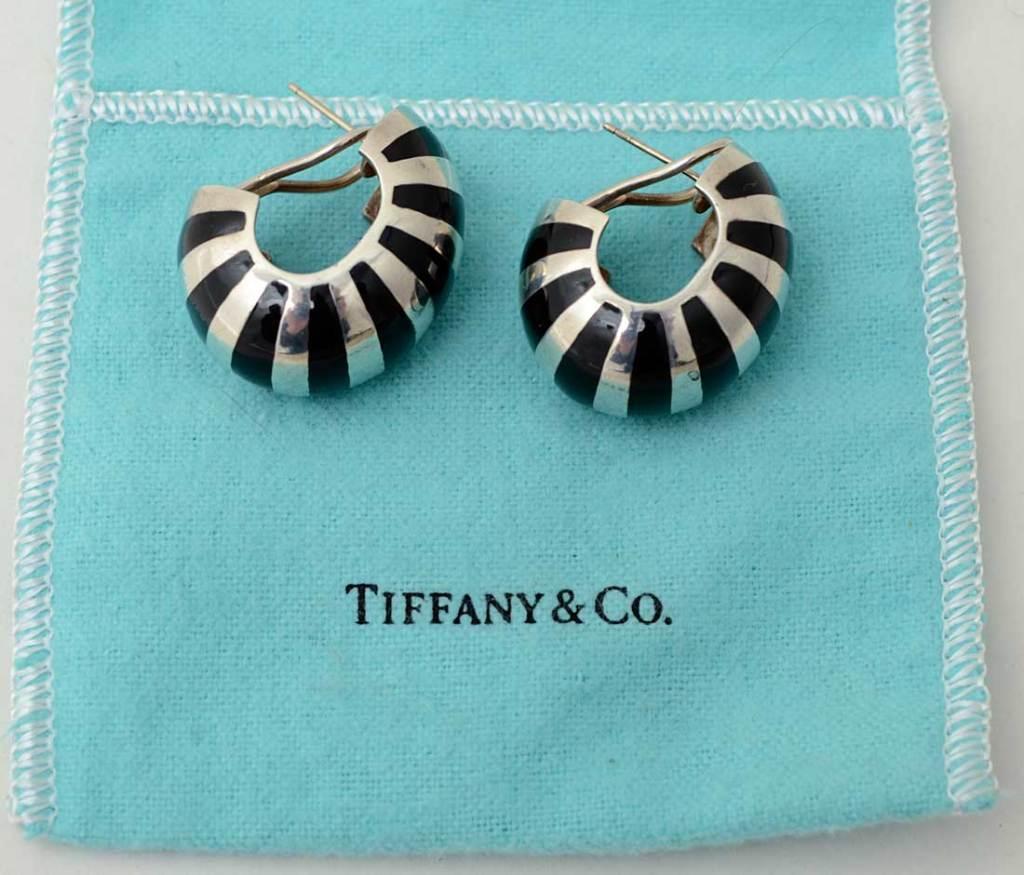 Tiffany Silver and Enamel Hoop Earrings image 3