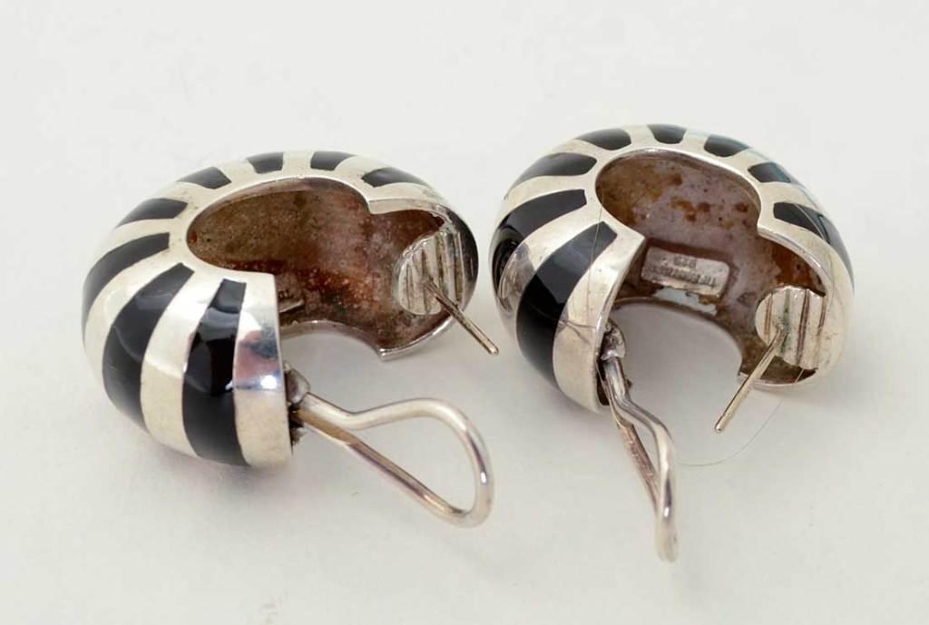 Tiffany Silver and Enamel Hoop Earrings image 4