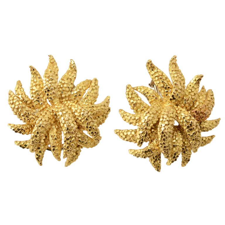Sea Anemone Gold Earrings