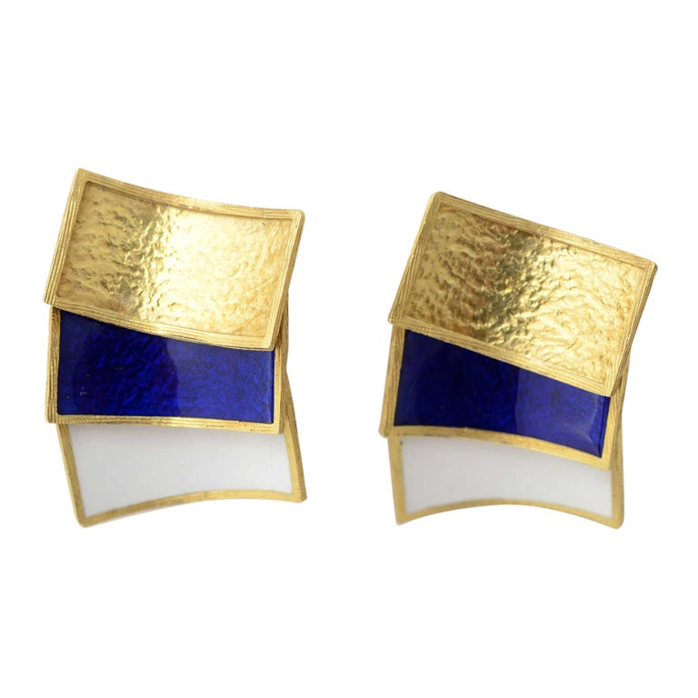 CARTIER Gold and Enamel Earrings 1