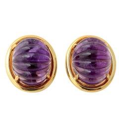 Gump's Carved Amethyst Earrings