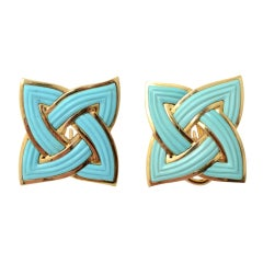 BERGDORF GOODMAN Gold and Turquoise Earrings thumbnail 1