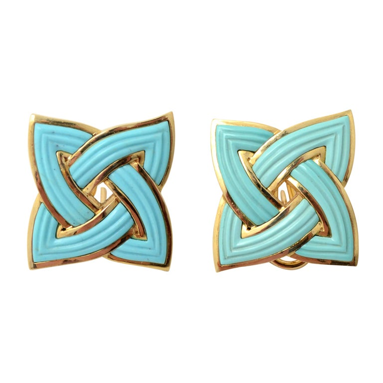 BERGDORF GOODMAN Gold and Turquoise Earrings