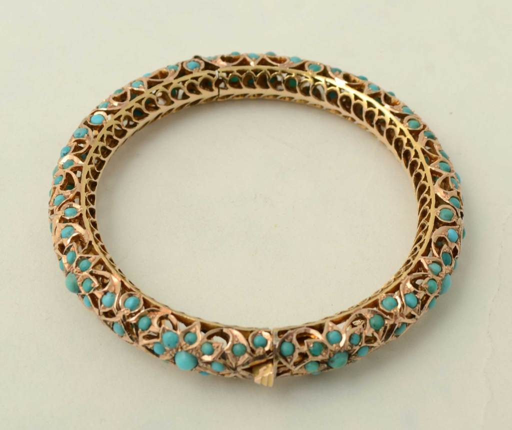 Gold And Turquoise Bangle Bracelet At 1stdibs