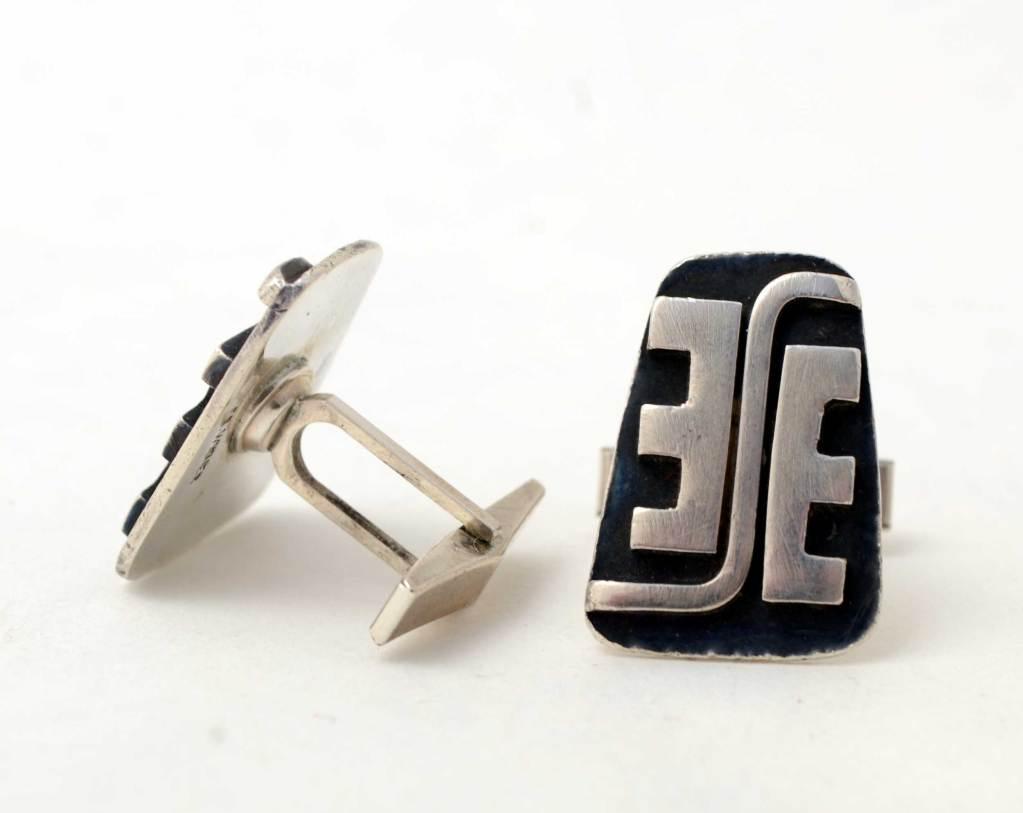 Women's or Men's Ed Wiener Sterling Cufflinks For Sale