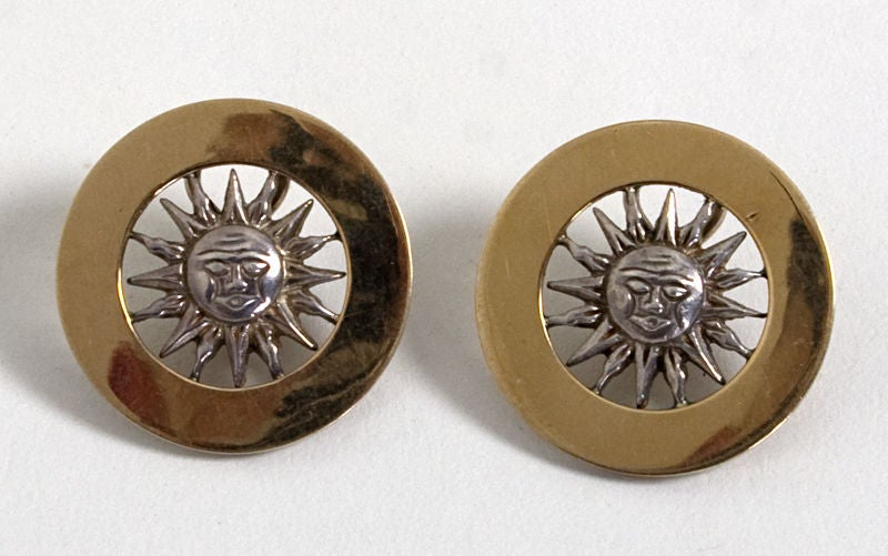 Gucci Gold and Silver Sun Face Earrings 2