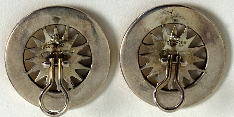 Gucci Gold and Silver Sun Face Earrings 4