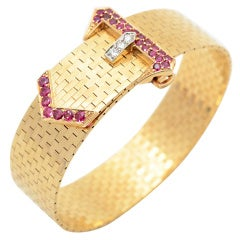 RETRO Buckle Bracelet with Rubies and Diamonds