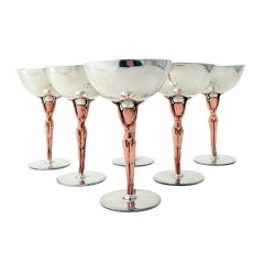 Los Castillo Copper Sterling Silver Nude Women Goblets