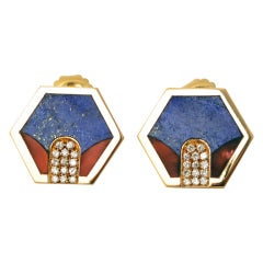 Lapis, Coral and Diamond Earrings