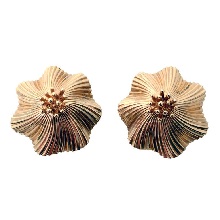 Tiffany & Co. Gold Flower Earclips For Sale