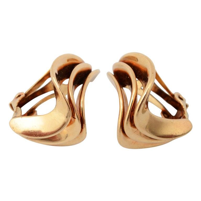 Modernist Gold Earrings