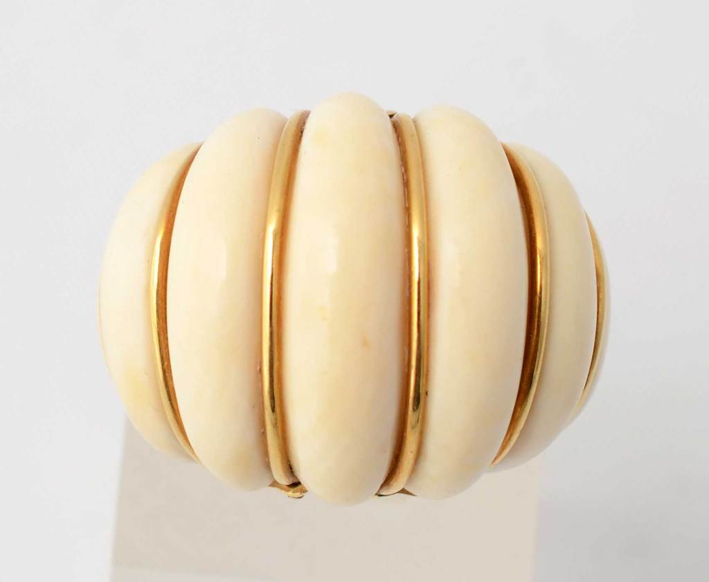 Gold And Ivory Domed Ring At 1stdibs