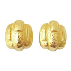 David Webb Hammered Gold Earrings