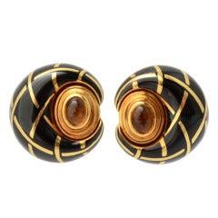 Citrine and Enamel Earrings