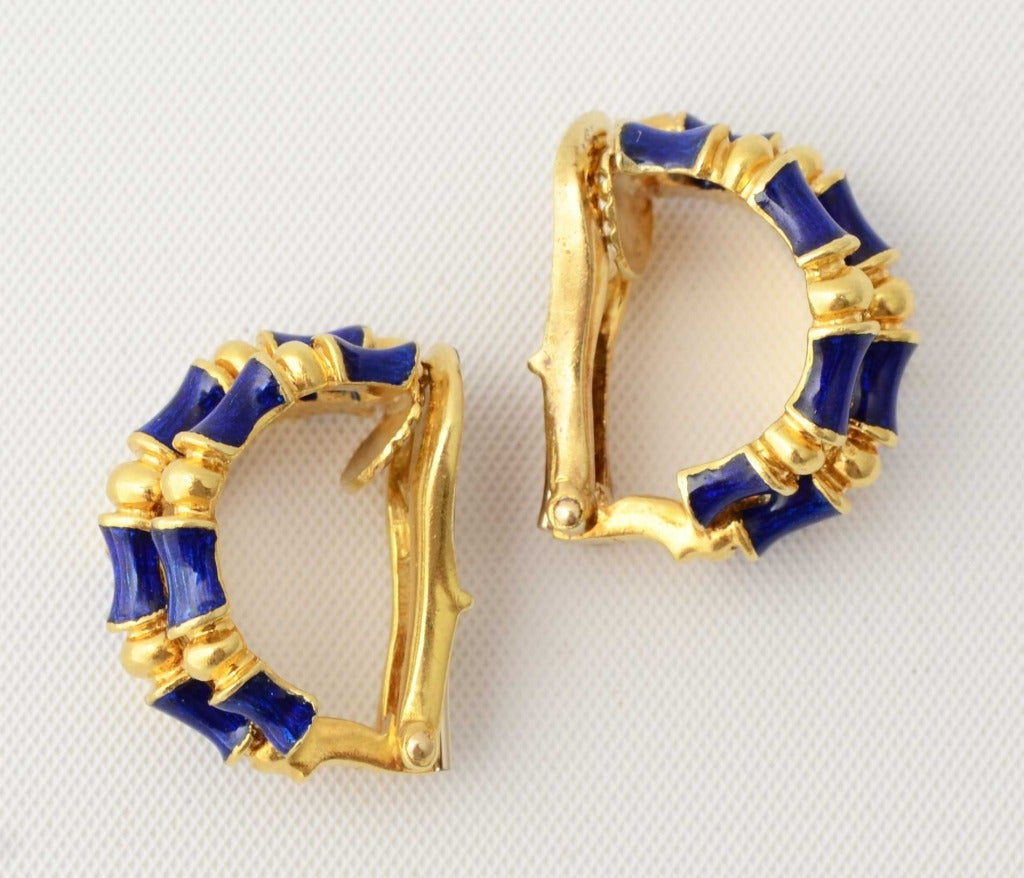 Tiffany & Co. Enamel Gold Bamboo Earrings 2