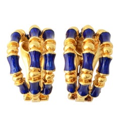 Tiffany & Co. Enamel Gold Bamboo Earrings