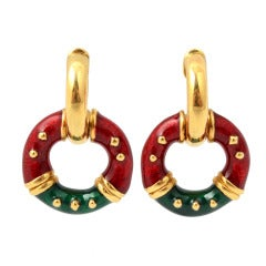 Red and Green Enamel Gold Hoop Earrings