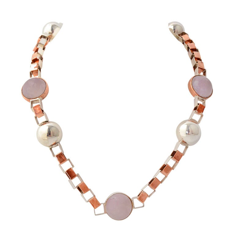 Silver and Copper Long Chain Necklace