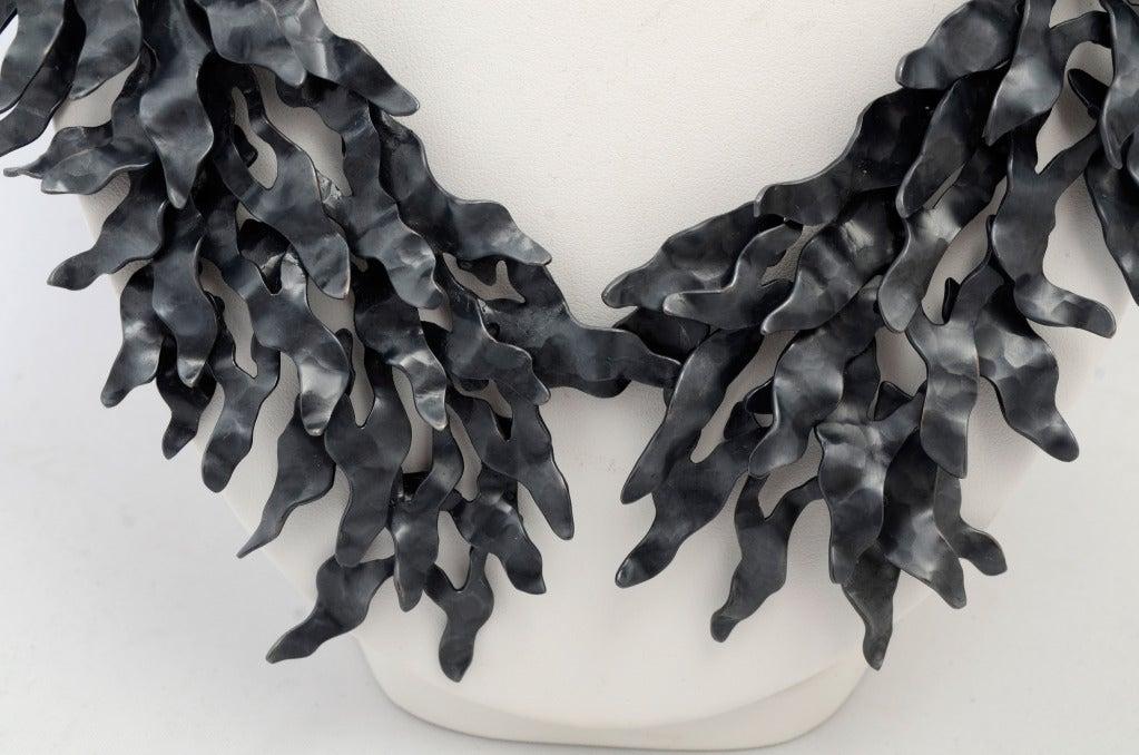 Eduardo Herrera Oxidized Silver Seaweed Necklace 3