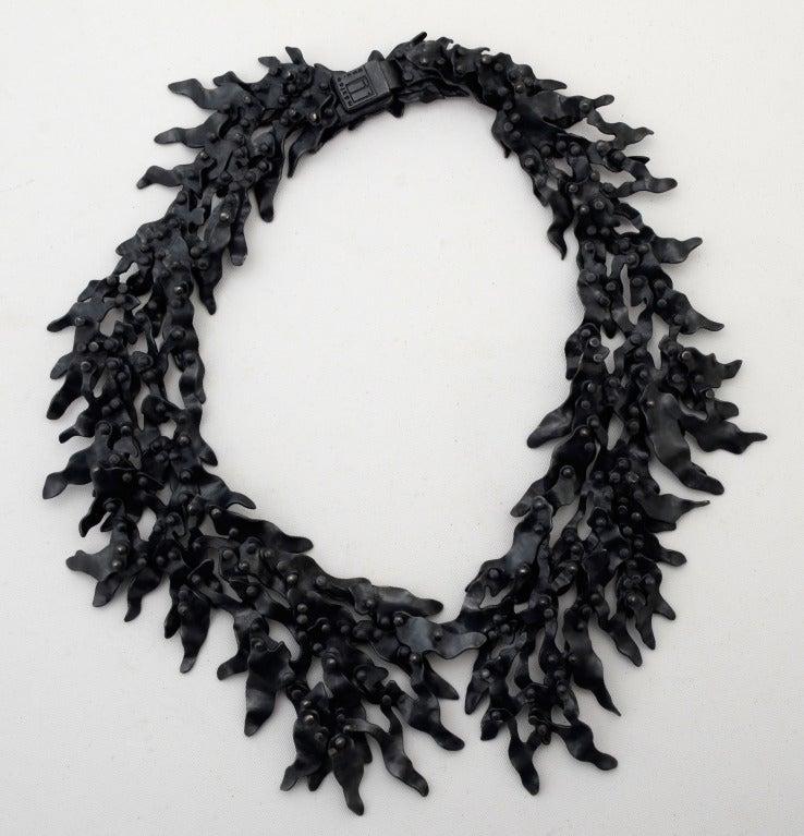 Eduardo Herrera Oxidized Silver Seaweed Necklace 5
