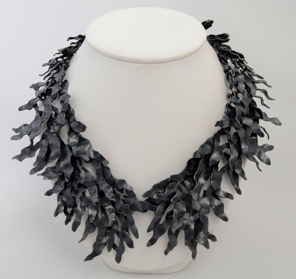 Eduardo Herrera Oxidized Silver Seaweed Necklace 2