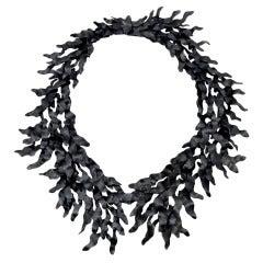 Eduardo Herrera Oxidized Silver Seaweed Necklace