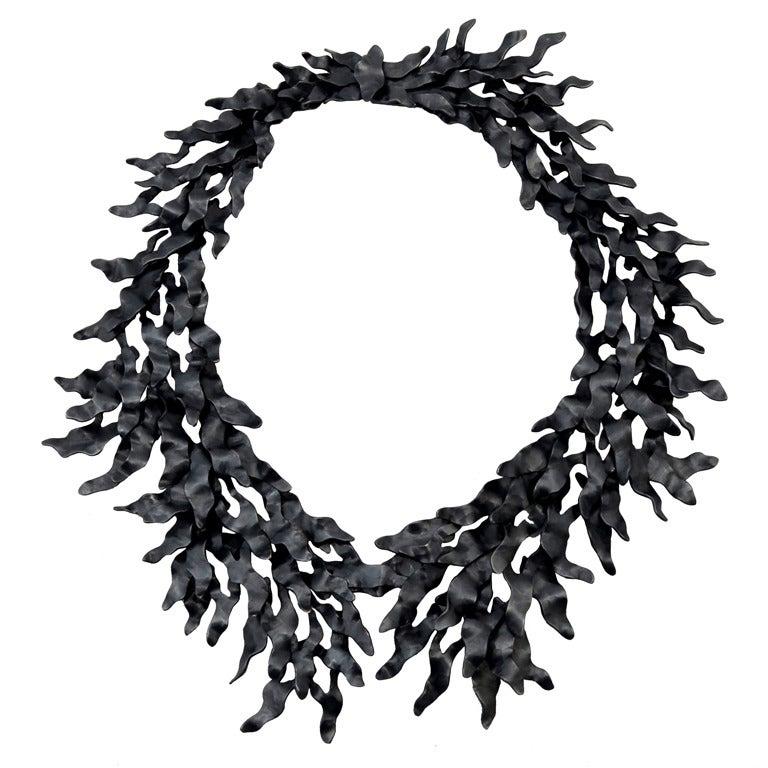 Eduardo Herrera Oxidized Silver Seaweed Necklace 1