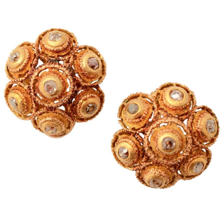Buccellati Diamond Gold Earrings