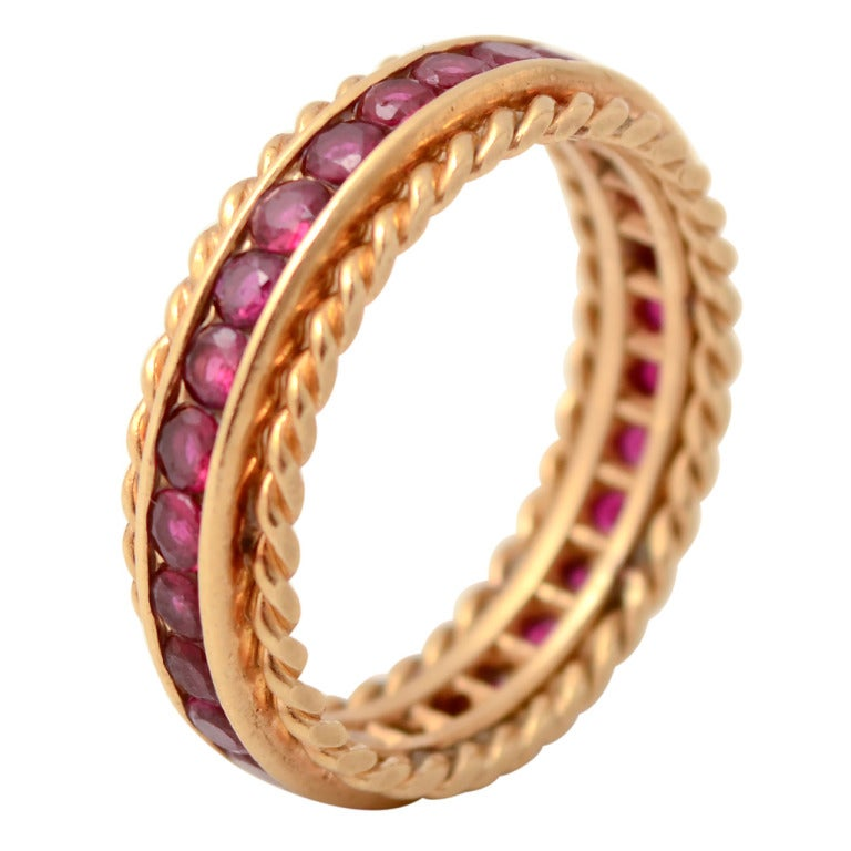 TIFFANY Ruby Gold Band Ring at 1stdibs