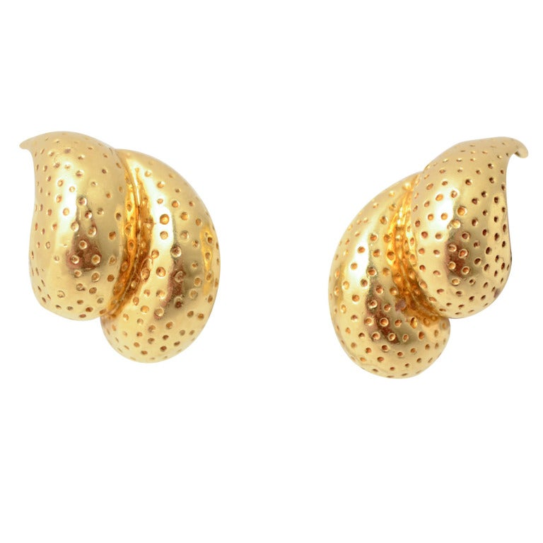 Tiffany Gold Double Lobed Earrings