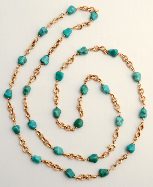 Gold Chain Necklace with Turquoise Chunks In As New Condition For Sale In Darnestown, MD