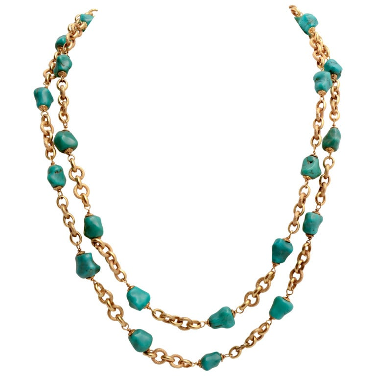Gold Chain Necklace with Turquoise Chunks For Sale