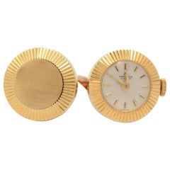 Bucherer Unusual Yellow Gold Cufflinks with Watch