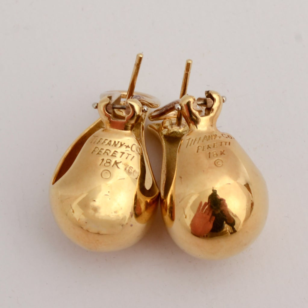 Elsa Peretti For Tiffany Gold Teardrop Earrings At 1stdibs