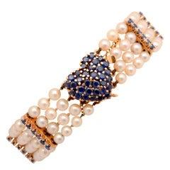 Tiffany Pearl Bracelet with Sapphire Heart