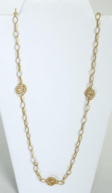 Women's Long Gold Chain Necklace with Open Links For Sale