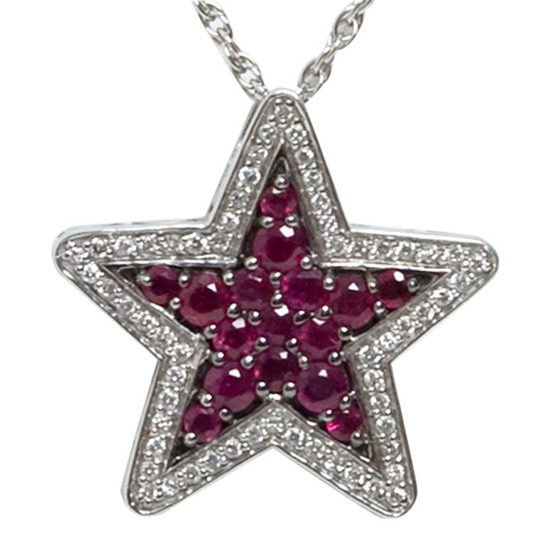 Ruby and Diamond Star Pendant