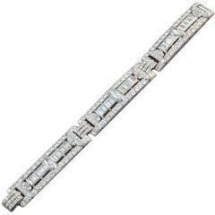 Art Deco  Baguette Marquise Round Diamond Set Bracelet