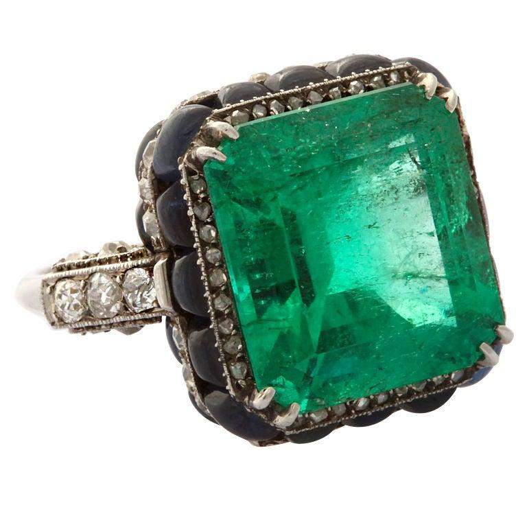 BOUCHERON Art Deco Emerald Ring