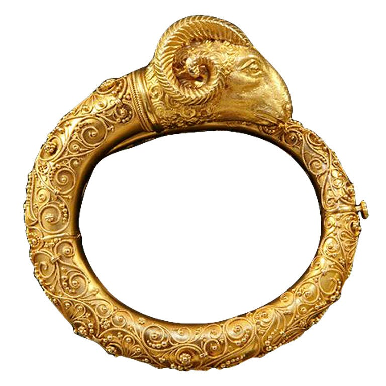 Victorian Etruscan Revival Gold Rams Head Bangle At 1stdibs